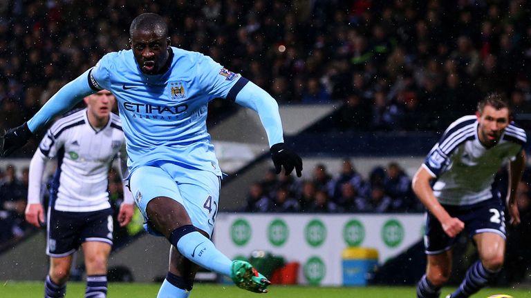 Yaya Toure scores as Manchester City beat West Brom 3-0.