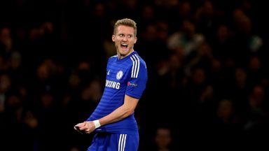 Andre Schurrle of Chelsea celebrates after scoring against Sporting Lisbon