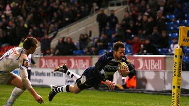 Danny Cipriani dives over for his side's second try in Sale's victory over Exeter
