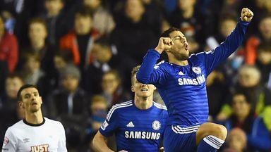 Eden Hazard celebrates his opener at the iPro Stadium