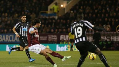 George Boyd scores for Burnley against Newcastle.