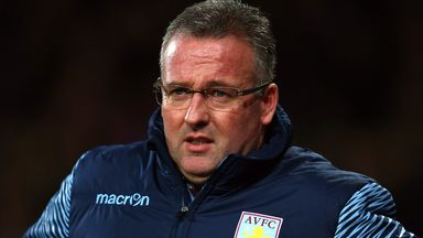 Aston Villa manager Paul Lambert is unhappy about Gabby Agbonlahor's red card.