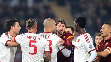 Milan and Roma players argue during their goalless draw