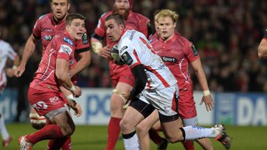Ulster's Ruan Pienaar goes over for a try against Scarlets
