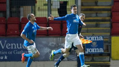 St Johnstone's Brian Graham  (right) celebrates after putting his side 1-0 up