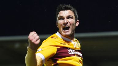 Motherwell's John Sutton celebrates after putting his side 1-0 up.