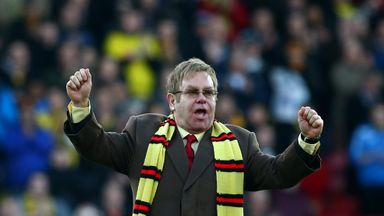 WATFORD, ENGLAND - DECEMBER 13: Honorary Life President Sir Elton John in attendance for the unveiling of 'The Sir Elton John stand'