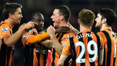 Hull celebrate their win over Sunderland last time out.