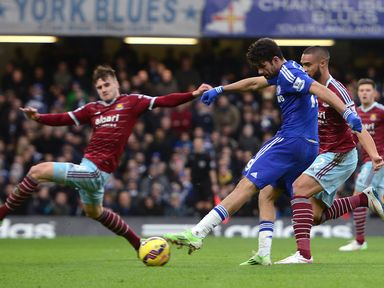 Chelsea's Diego Costa scores his side's second goal