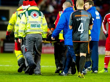 Darryl Westlake is carried off at Pittodrie on Saturday