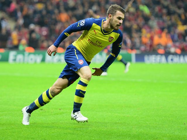 Aaron Ramsey of Arsenal celebrates as he scores their second goal