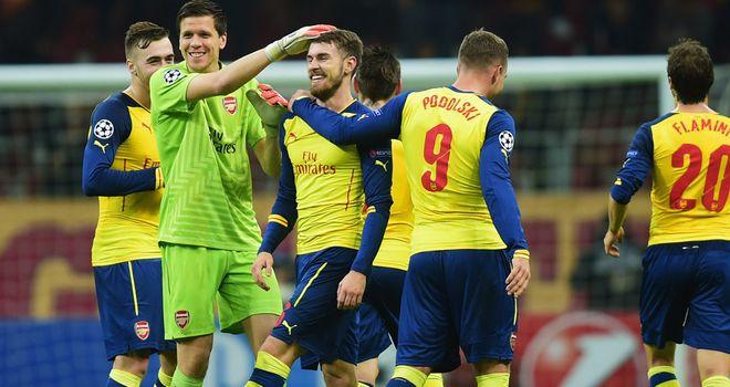Aaron Ramsey: Celebrates stunning third goal in Arsenal's 4-1 win at Galatasaray