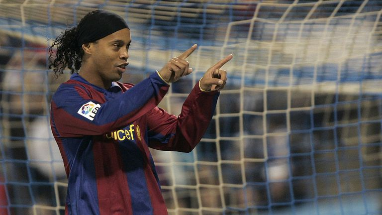 Ronaldinho won La Liga twice at Barcelona