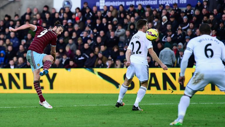 West Ham's Andy Carroll has scored five goals in eight games against Swansea