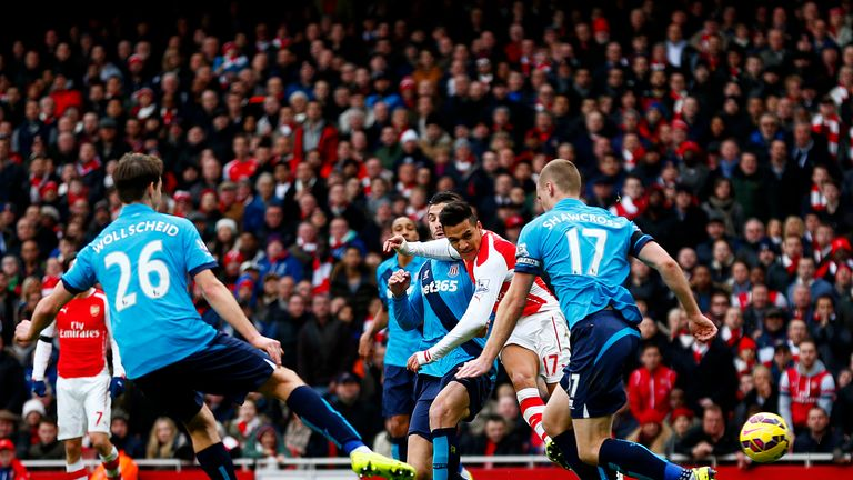 Alexis Sanchez was on target in Arsenal's 3-0 win over Stoke last season
