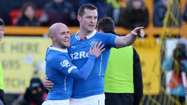 Rangers' Nicky Law celebrates with his team-mate Jon Daly