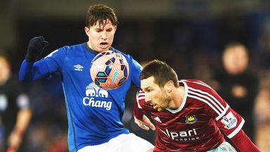 Bryan Oviedo (L) in action for Everton against West Ham