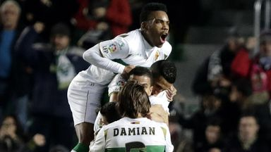 Elche players celebrates goal against Villarreal - but they will be playing in the second tier next year