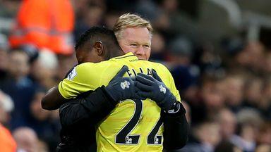 Eljero Elia celebrates with Ronald Koeman after scoring the opening goal against Newcastle.
