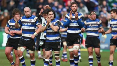 Horacio Agulla and Dave Attwood of Bath lead the applause after their victory over Glasgow