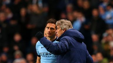 Manuel Pellegrini and Frank Lampard grab a word on the touchline