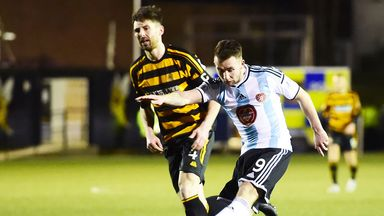 James Keatings scores the second goal for Hearts at Alloa