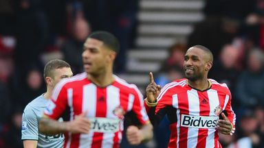 Jermain Defoe celebrates after scoring his first goal for Sunderland.