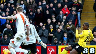 Odion Ighalo of Watford scores his team's third goal against Blackpool