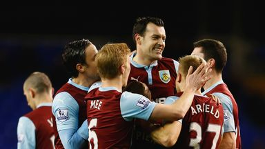Ross Wallace celebrates with his Burnley team-mates
