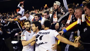 Dani Parejo celebrates his second goal with team-mates