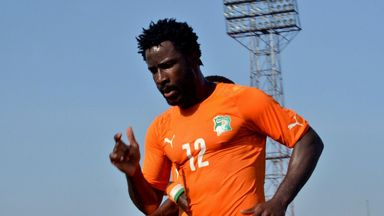 Ivory Coast's forward Wilfried Bony celebrates after scoring against Algeria