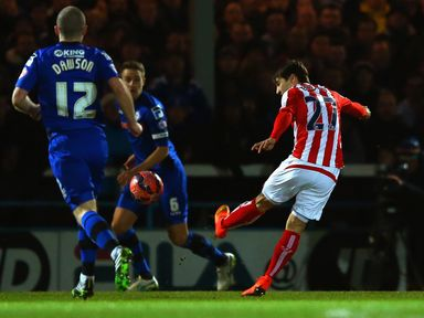 Stoke's Bojan Krkic scores a stunning volley against Rochdale in the FA Cup fourth round