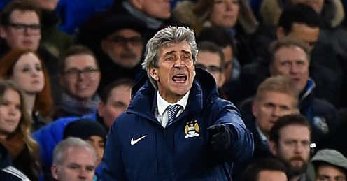 Manchester City manager Manuel Pellegrini shouts from the sidelines