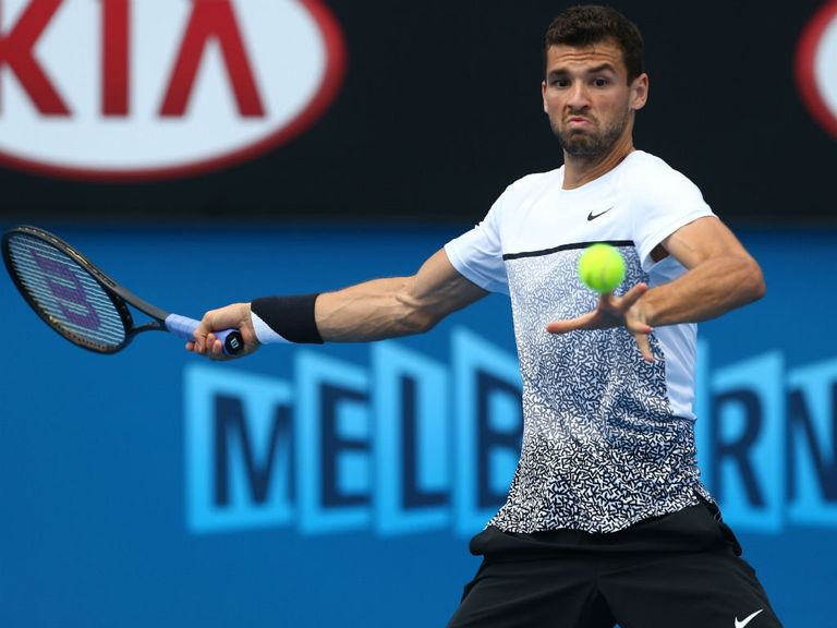 Image result for images of Grigor Dimitrov at the 2017 australian open