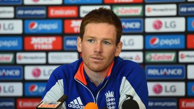England captain Eoin Morgan talks to the media during a press conference at Basin Reserve