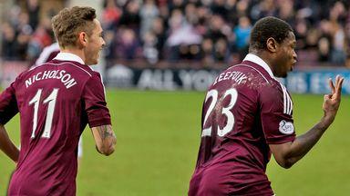 Genero Zeefuik (right): Memorable afternoon for the Hearts striker