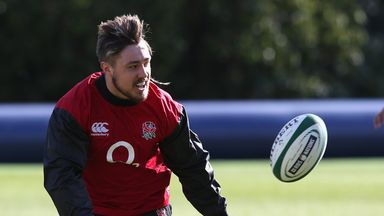 Jack Nowell in training at Pennyhill Park this week