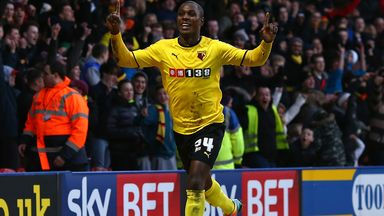 Odion Ighalo: Celebrates after scoring against Blackpool last month