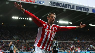 Peter Crouch: Celebrates his late equaliser against Newcastle