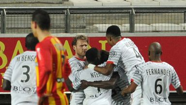 Rennes celebrate the only goal of the game