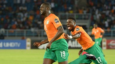 Yaya Toure celebrates after opening the scoring for Ivory Coast