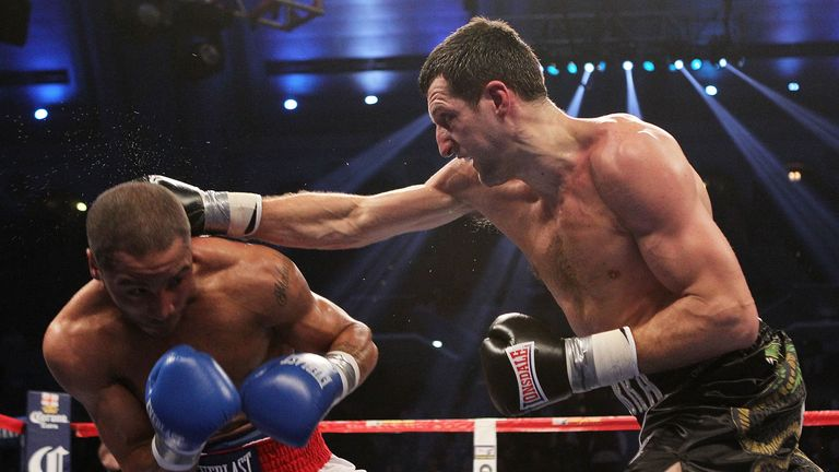 Carl Froch lands a right on Andre Ward