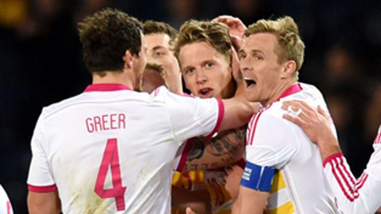 Scotland's Christophe Berra celebrates his late winner against Northern Ireland.