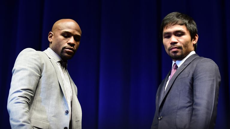 Manny Pacquiao (R) and Floyd Mayweather: Will meet in the ring on May 2