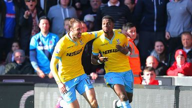 Wilfried Zaha celebrates after scoring what turned out to be the winner