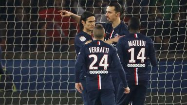 Zlatan Ibrahimovic celebrates with team mates during the win over Lorient