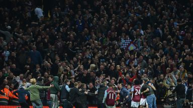 Fans and players celebrate at Villa Park
