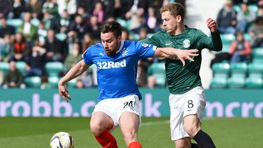 Darren McGregor (left) playing against Hibs, in whose colours he will be turning out in 2015/16