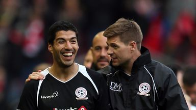 Luis Suarez: appeared for Steven Gerrard's team in a charity match on Sunday