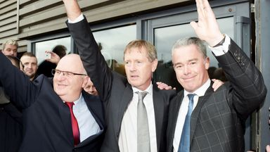 John Gilligan, Dave King and Paul Murray at Ibrox after assuming control of the Rangers board.